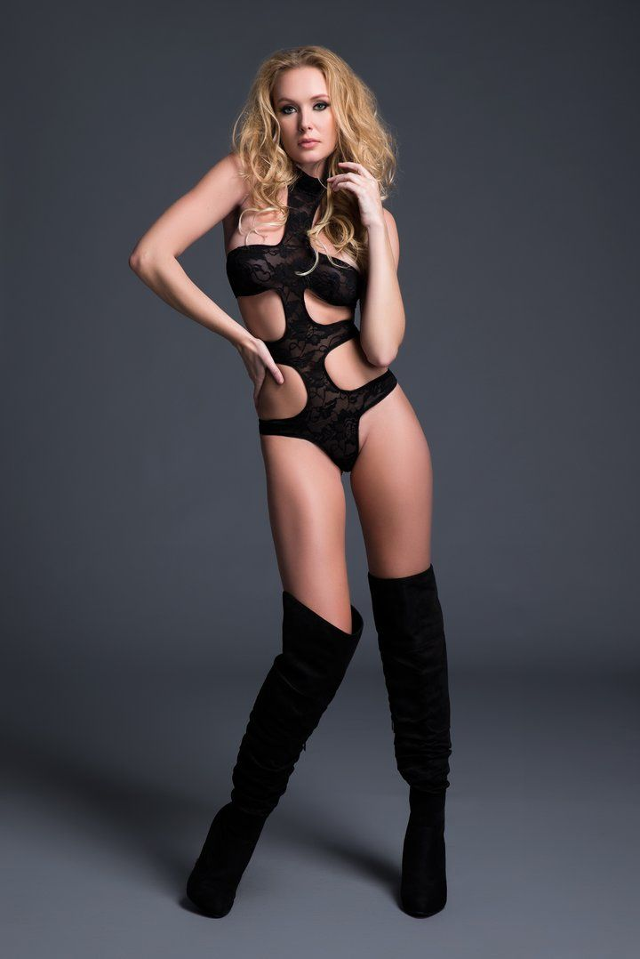 Allure - Chloe Lace Teddy - Black - M photo-6