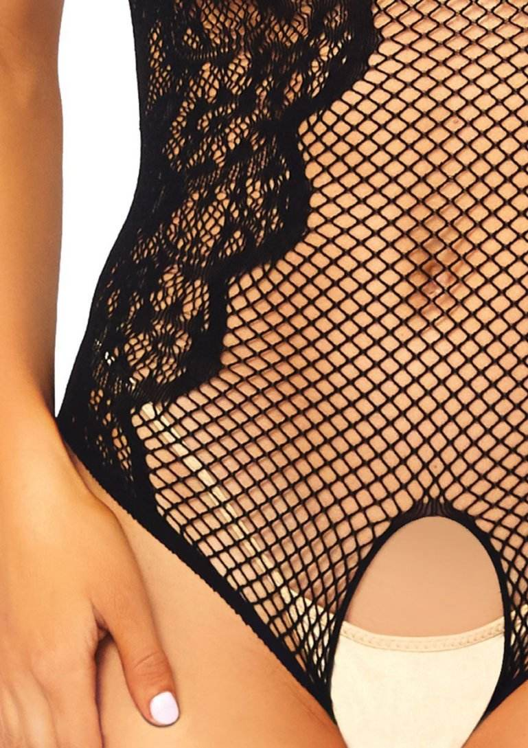 Leg Avenue - Net and Lace Crotchless Teddy - Black photo-4