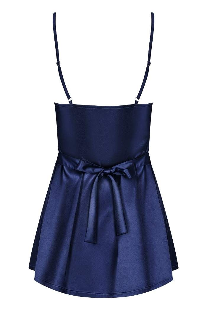 Obsessive - Satinia Babydoll & Thong - Navy Blue - S/M photo-6