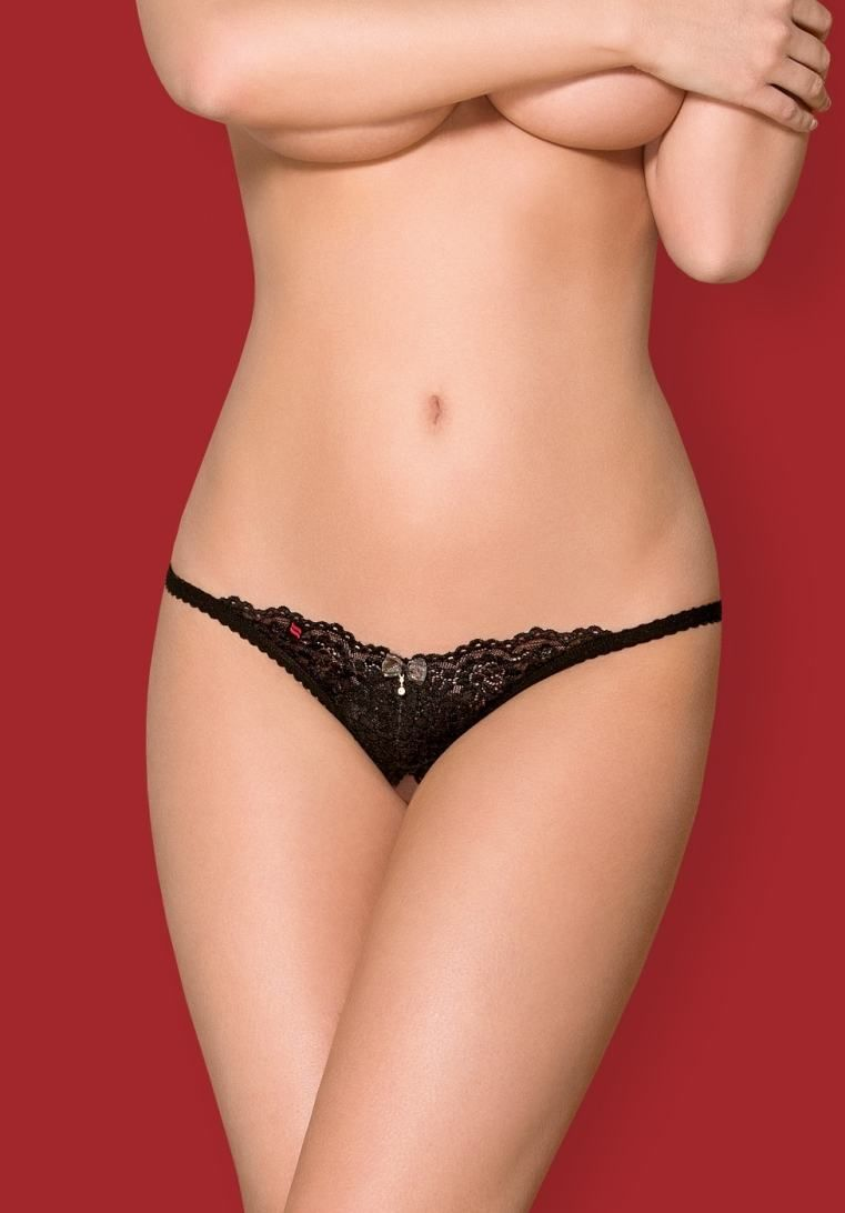 Obsessive - 852-THC-1 Crotchless Thong - Black - L/XL photo-5