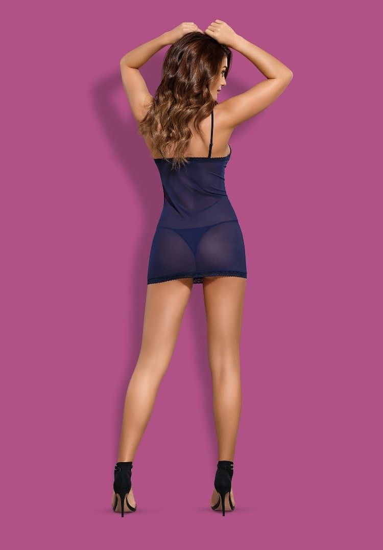 Obsessive - Suella Chemise & Thong - Navy Blue - L/XL photo-6