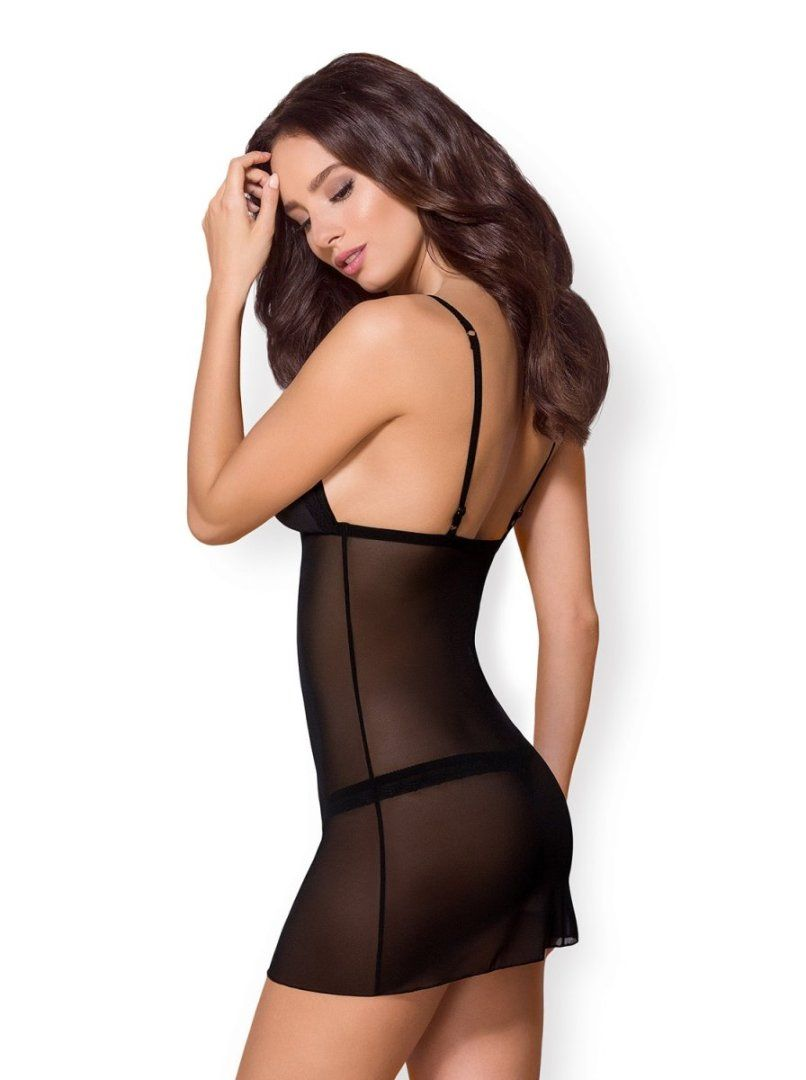 Obsessive - 865-CHE-1 Chemise & Thong - Black - L/XL photo-2
