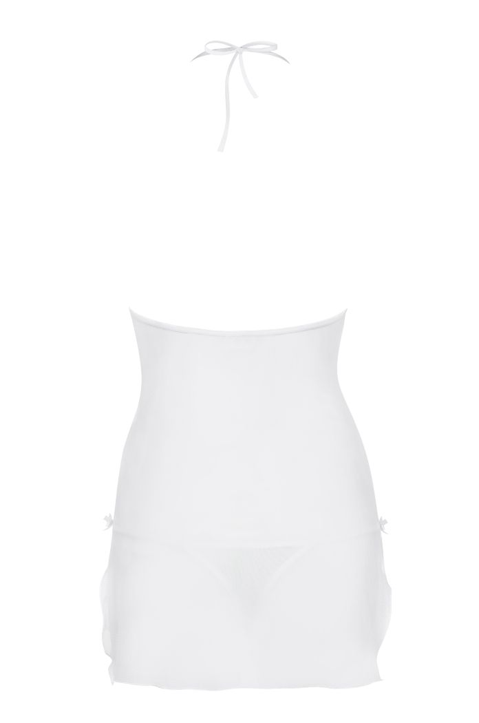Obsessive  - Bisquitta Chemise & Thong - White - L/XL photo-6