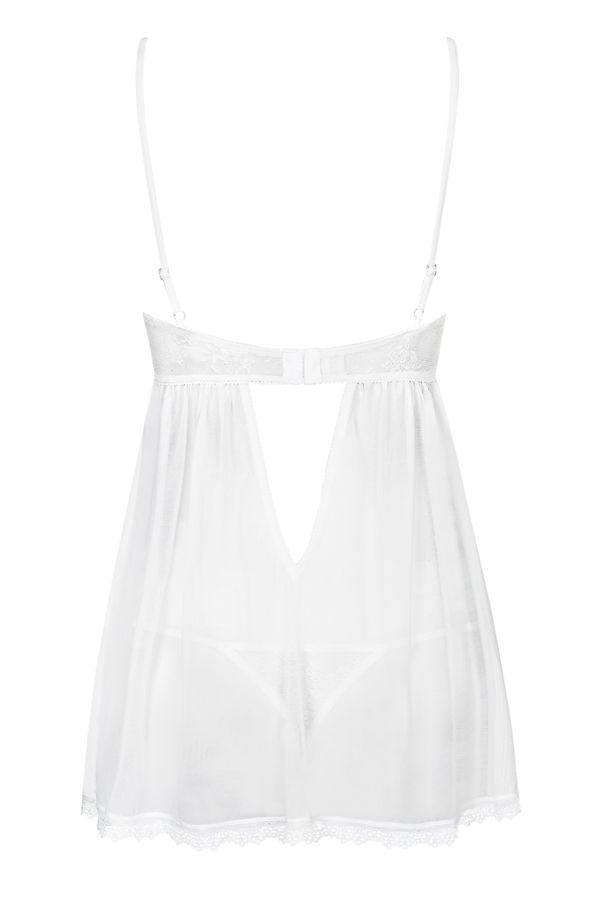 Obsessive - Favoritta Babydoll & Thong - White - L/XL photo-6