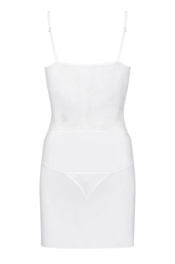 Obsessive - Charms Chemise & Thong - White - L/XL photo-5