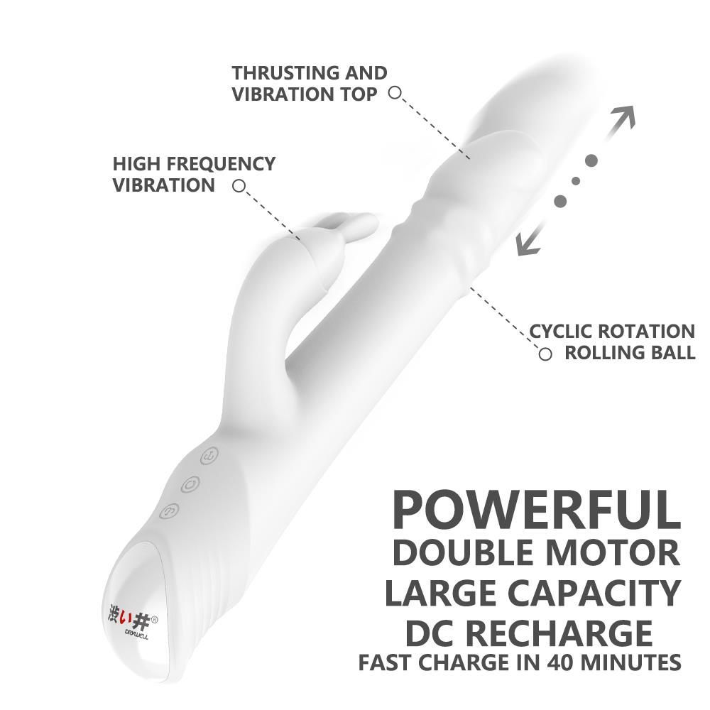 Drywell - Rotating & Thrusting Rabbit Vibrator - White photo-2