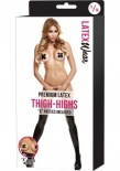 "Latex Wear - Premium Latex Thigh-Highs With ""X"" Pasties - Black - SM"