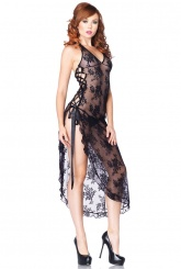 Leg Avenue - Halter Lace Long Gown with G-String - Black