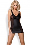 Obsessive - 823-DRE-1 dress & thong - Black - S/M