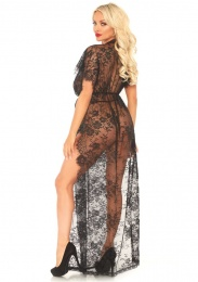 Leg Avenue - Eyelash Lace Robe with G-String - Black - XL photo