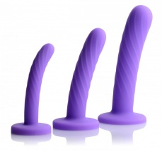 Strap U - Tri-Play 3 Piece Dildo Set Silicone - Purple photo