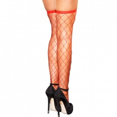 Hustler - Diamond Net Thigh High - Red photo