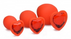 Frisky - Hearts 3 Piece Silicone Anal Plugs w/Gem Accents - Red photo