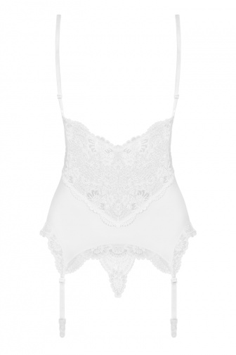 Obsessive - 810-COR Corset & Thong - White - S/M photo