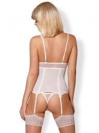 Obsessive - 843-COR-2 Corset & Thong - White - S/M photo