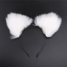 MT - Screwed Tail Plug with Cat Ears - White photo