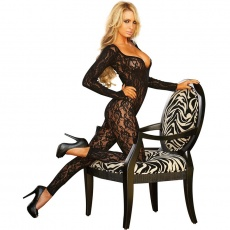 Hustler - Long Sleeve Crotchless Footless Lace BodyStocking