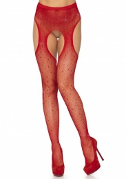 Leg Avenue - Crystalized Fishnet Suspender Pantyhose - Red 照片