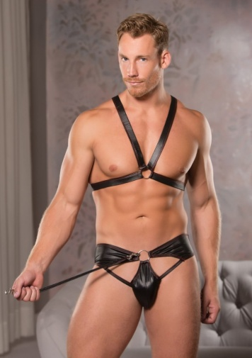 Allure - Ring Harness & Thong - Black - L/XL photo