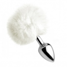 Tailz - Fluffy Bunny Tail Metal Anal Plug - White photo