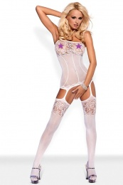Obsessive - Bodystocking F204 - White - S/M/L photo