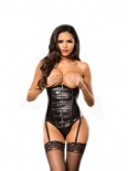 Allure - Faux Leather Zipper Corset - Black - M
