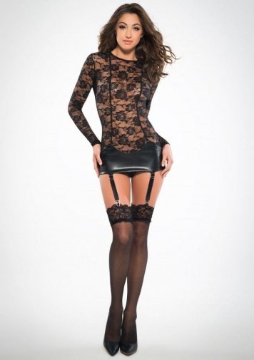 Allure - Corselette Dress With Garters - Black - S photo