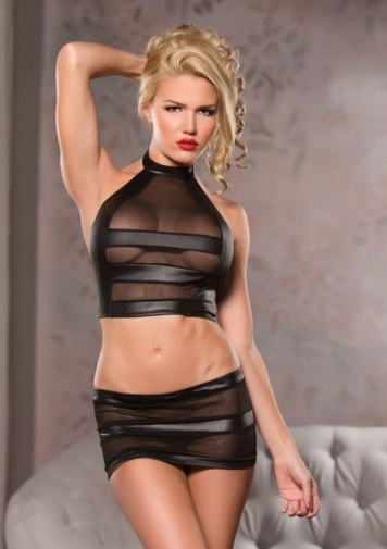 Allure - Halter & Mini Skirt Set - Black - S/M photo