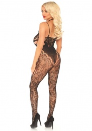 Leg Avenue - Harness Halter Floral Lace Bodystocking - Black photo