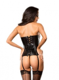 Allure - Faux Leather Zipper Corset - Black - S photo