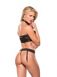 Allure - Mesh Top & G-String Set - Black - S/M photo