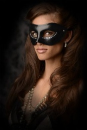 GreyGasms - Luxoria  Masquerade Mask with Stones - Black photo