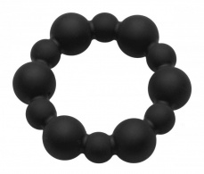 Master Series - Shadow Silicone Beaded Cock Ring - Black photo