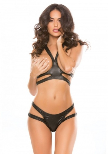 Allure - Spunky Bunny Top & Thong - Black photo