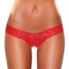 Hustler - Clitoral Stimulating Thong With Beads - Red - SM