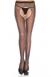 Musiclegs - Sheer Crotchless Pantyhose - Black 照片
