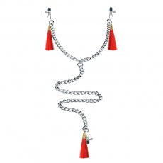 Lovetoy - Nipple Clit Tassel Clamp With Chain - Red photo