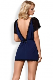 Obsessive - 825-PEI-6 Peignoir & Thong - Navy Blue - XXL photo