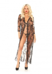 Leg Avenue - Long Lace Robe with G-String - Black - S/M photo