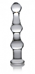 Master Series - Mammoth 3 Bumps Glass Dildo - Clear photo