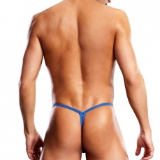 Blueline - Microfiber V-String with Metal Rings Blue - S/M photo