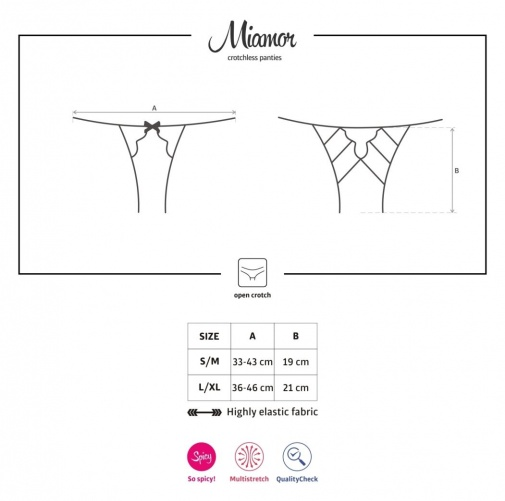 Obsessive - Miamor Crotchless Panties - Black - L/XL photo
