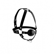 Strict - Head Harness with Ball Gag 1.65″ - Black photo