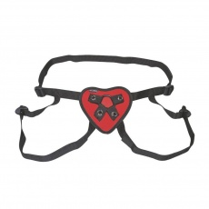 Lux Fetish - Red Heart Strap-on Harness - Red photo